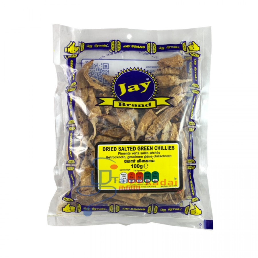 Jay Dried Salted Green Chillies - மோர் மிளகாய் (100g)